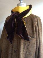 silk and velvet stole(silk mustard x velvet darkbrown)/DjangoAtour