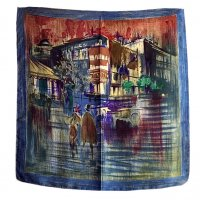 1970's-1980's French Silk Scarf Blue<img class='new_mark_img2' src='//img.shop-pro.jp/img/new/icons3.gif' style='border:none;display:inline;margin:0px;padding:0px;width:auto;' />