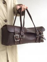 1950's British Railroader's Leather Boston Bag  Brown