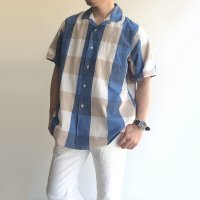 Open Collar S/S Shirt Blue Big Plaid/KAPTAIN SUNSHINE