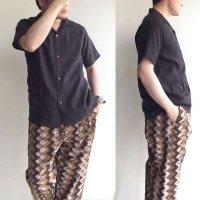 Open Collar Shirt Black Linen/Workers