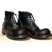 【オーダー受付休止期間です】「follow フォロー」クロムエクセルレザー・ブラック/おでこ靴職人ヒラキヒミ。
