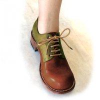【終了しました】「Charlie チャーリー」トイアーノコンビ・ブラウン×グリーン/おでこ靴職人ヒラキヒミ。