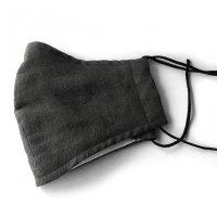 抗菌防臭の洗える布マスク(立体ワイドタイプ)チャコールグレー/flaxfields