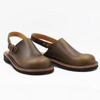 【オーダー受付休止期間です】「blues ブルース」クロムエクセル・オリーブ おでこ靴職人が作ったサボサンダル/ヒラキヒミ。