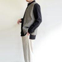 classic linen artisanal vest  ecru x black/DjangoAtour