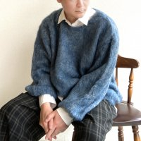 MIX MOHAIR BIG KNIT GRAY×BLUE/STRANGE TRIP