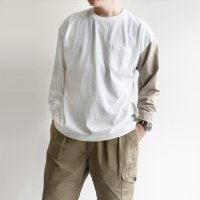 West Coast L/S Tee WHITE × Beige Line ウエストコーストロングスリーブTシャツ ホワイト×ベージュ/KAPTAIN SUNSHINE