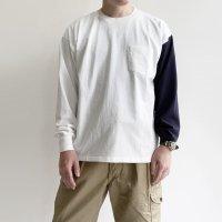 West Coast L/S Tee WHITE × NAVY Line ウエストコーストロングスリーブTシャツ ホワイト×ネイビー/KAPTAIN SUNSHINE