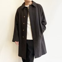 Bal Collar Coat, Dark Brown Herringbone Tweed/Workers