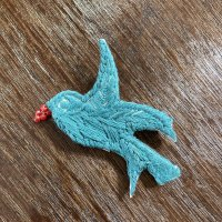 刺繍ブローチ 鳥