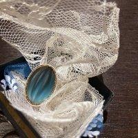 チェコスロバキア ヴィンテージ フロストガラスの指輪(ブルー)