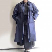 2000's Dead Stock French Policeman SIngle Trench Coat Navy