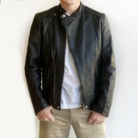 1970's French Leather Riders Blouson Faded Black 1970年代フランスのレザーライダースブルゾン<img class='new_mark_img2' src='https://img.shop-pro.jp/img/new/icons3.gif' style='border:none;display:inline;margin:0px;padding:0px;width:auto;' />