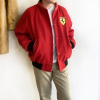 1980-1990's British Wool Melton × Leather Blouson for Ferrari Racing Team Red フェラーリレーシングチームのブルゾン<img class='new_mark_img2' src='https://img.shop-pro.jp/img/new/icons3.gif' style='border:none;display:inline;margin:0px;padding:0px;width:auto;' />