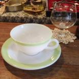 oldPyrexライムディナーウェアカップ&ソーサー(1945〜60年代/パイレックス)