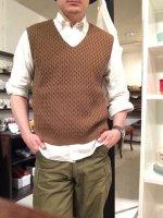 コットンニットVネックベスト スモーク cotton knit v-neck vest smoke/DjangoAtour