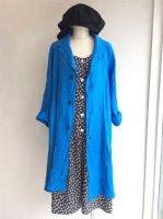 ラグランリネンコート ロータスブルー Raglan Linen Coat  Lotus Blue/Yarmo