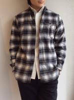 ロールカラーチェックシャツ black x white x grey/DjangoAtourジャンゴアトゥール