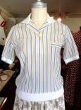 空色とレモン色ストライプのポロシャツ(綿100%)1960〜70年代