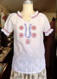 白地に青系刺繍チュニックブラウス1960〜70年代 ギリシャ製