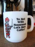 【SALE】Glasbakeグラスベイク/To hell with housework Let's have coffee! ヴィンテージマグカップ<img class='new_mark_img2' src='//img.shop-pro.jp/img/new/icons48.gif' style='border:none;display:inline;margin:0px;padding:0px;width:auto;' />