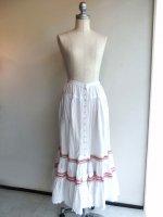 前開きリボン付きスモッキング刺繍スカート 白 商品番号P0172FS06B/PINKHOUSE