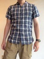 リネンショールカラーハーフスリーブシャツ(white x blue)LINEN SHAWLCOLLAR H/S SHIRT/DjangoAtour