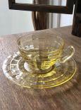 ホッキンググラス ブロックオプティック カップ&ソーサー(黄) 1930年代 美品
