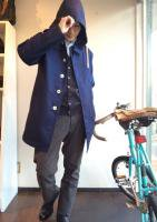 バルカラーコート 36サイズ Bal Collar Coat, Ventile Gabardine, Blue/Workers