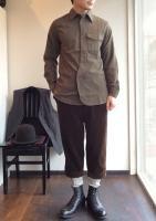 ブリティッシュミリタリーシャツ(ビエラカーキ) British Military Shirt Viyella Khaki/Workers