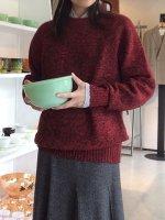 1990's British Crush Wool Knit RareColor Wine Red×Black