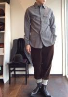 ブリティッシュミリタリーシャツ(ビエラグレー)British Military Shirt Viyella Gray/Workers