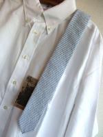 ナロータイ シアサッカーブルーNarrow Tie, Seersucker Blue/Workers