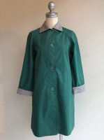1970's French Spring Coat Green×Light Gray