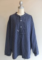 1970's German Stripe Prisoner's Shirt Navy×White