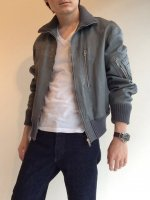 1980's German Military Flight Leather Jacket Grey
