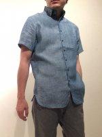 ラウンドカラーボタンダウンリネンシャツ ブルーシャンブレー roundcollar b.d. h/s linen shirt bluechambray/DjangoAtour
