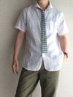 ラウンドカラーボタンダウンリネンシャツ ホワイトシャンブレー roundcollar b.d. h/s linen shirt whitechambray/DjangoAtour