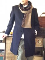 1960's French Wool Melton Bal Collar Coat Dark Navy
