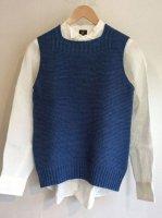 コットンニットインディゴベスト コバルトブルー cotton knit indigo vest cobaltindigoblue/DjangoAtour