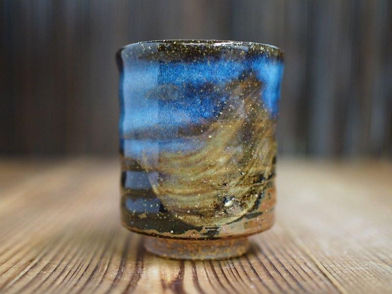 湯飲み 清玩ブルー  小 萩焼 山根清玩