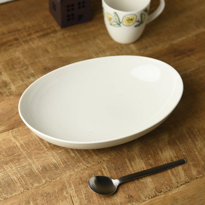 26cmアイボリーのオーバルベーカー(カレー皿・パスタ皿)[アウトレット訳あり][美濃焼]