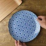 和ごころ 24.5cm丸皿 三角紋 日本の伝統模様[美濃焼]