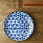和ごころ 24.5cm丸皿 アサノ葉 日本の伝統模様[美濃焼]