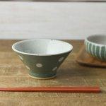 ★ラッピング無料★手しごと 13cm富士山型茶碗 みどり 水玉[美濃焼]