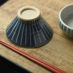 ★ラッピング無料★手しごと 13cm富士山型茶碗 あい 十草[美濃焼]