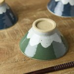 ★ラッピング無料★手しごと 13cm富士山型茶碗 みどり 富士山[美濃焼]