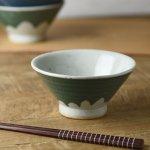 手しごと 12cm富士山型茶碗 みどり 富士山[美濃焼]