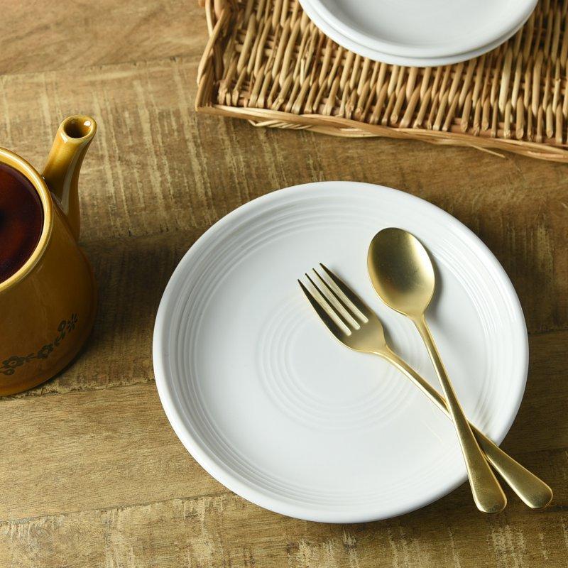 オービット ホワイト 19.5cmケーキ皿[アウトレット訳あり][美濃焼]